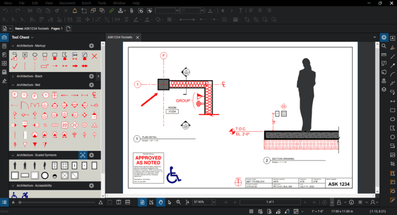 Screenshot of Bluebeam PDF editor with BBToolsets tools loaded